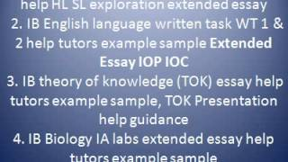 IB Biology IA labs extended essay help tutors