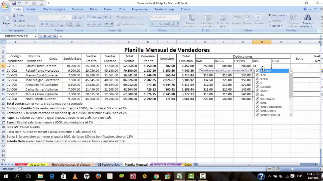 como calcular total ventas comision credito total comision