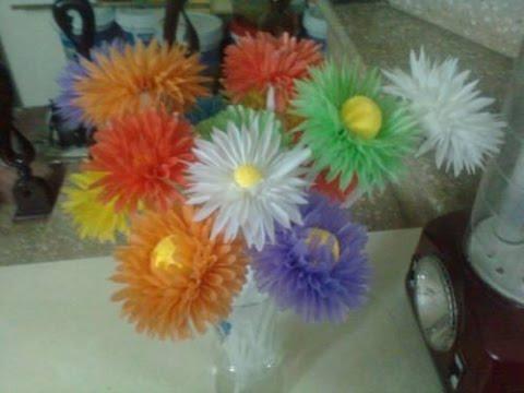 Khéo tay hay làm - Hướng dẫn làm hoa bằng ống hút - Handmade