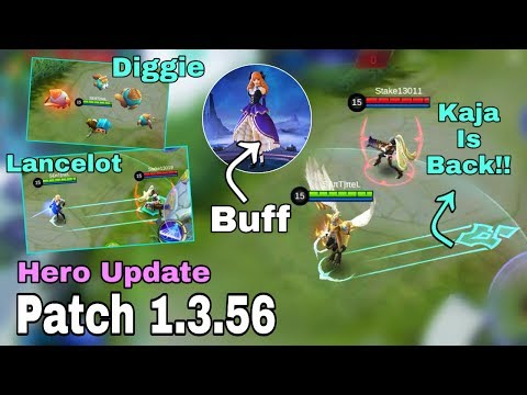 KAJA, LANCELOT, GUINEVERE, DIGGIE HERO UPDATE PATCH 1.3.56 - Mobile Legend Bang Bang thumbnail