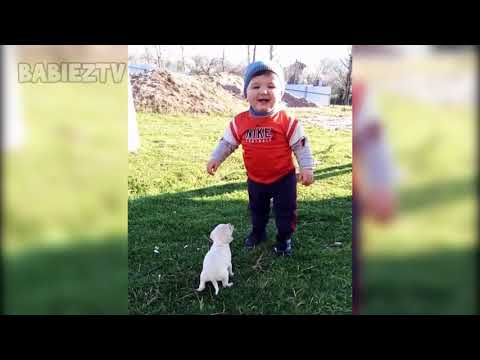 FUNNY BABY Meeting Cute PUPPY for the first time