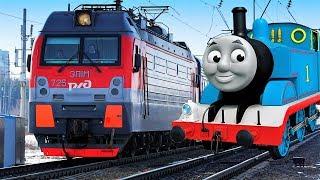 паровозик Томас и его друзья Макс и Томас едут смотреть поезда видео для детей