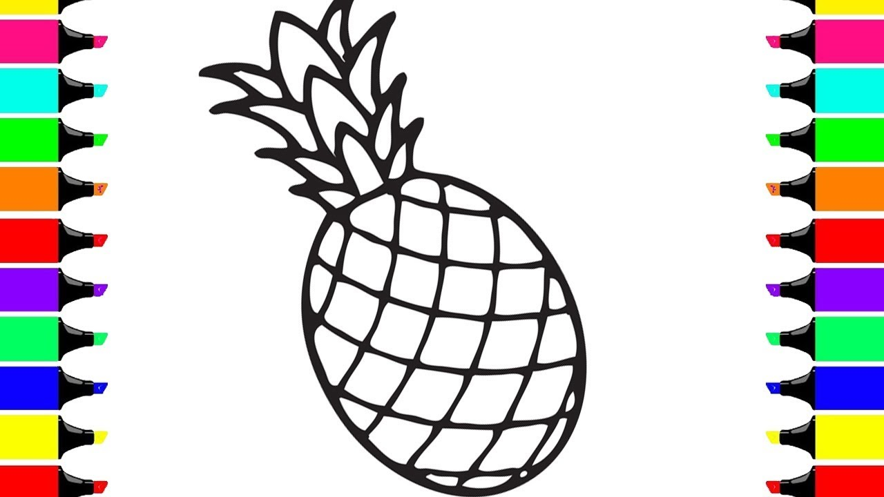How To Draw Pineapple For Kids Pineapple Drawing Coloring Page
