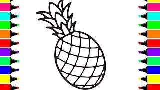 How to Draw Pineapple for Kids | Pineapple Drawing Coloring Page | Pineapple Easy Draw Tutorial