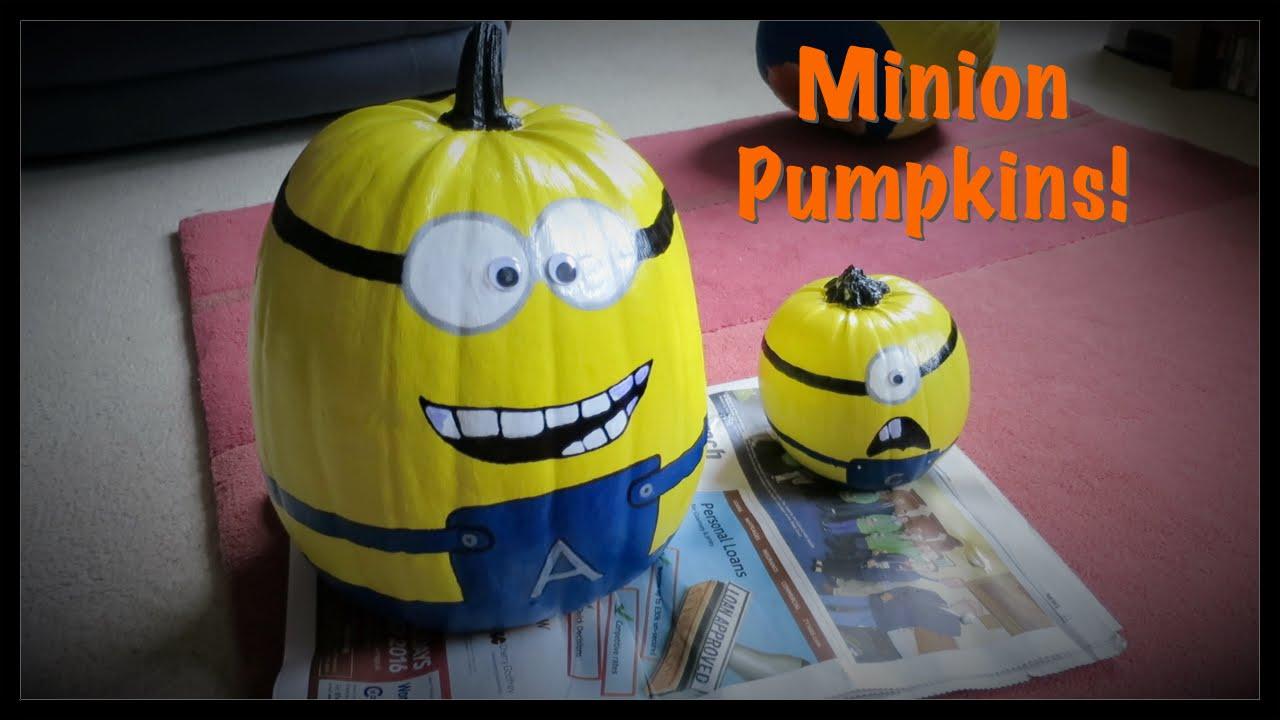 Step 2: Paint the Pumpkins yellow. Minions are yellow. Pumpkins are orange. You can paint your minions with a brush using acrylic paint, or you can spray them with spray paint. I chose to use spray paint. You'll need to let them sit over night to dry.