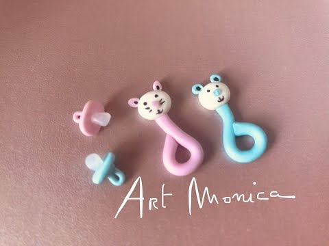 Baby Rattles & Soothers Polymer Clay : Miniature DIY
