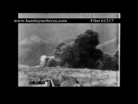 Khe Sanh Marine Base is Bombed, February 1968.  Archive film 61217