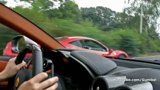 Exciting ride in Ferrari FF - Accelerating, revs, downshifts!! 1080p HD