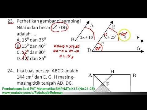 No 21 25 Pembahasan Soal Pat Ukk Matematika Kelas 7 Smp Mts Kurikulum 2013 Youtube