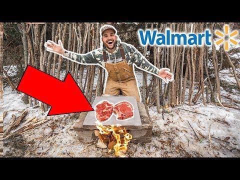 Cooking WALMART STEAK on a ROCK in My BACKYARD!!! (Primitive  Survival)