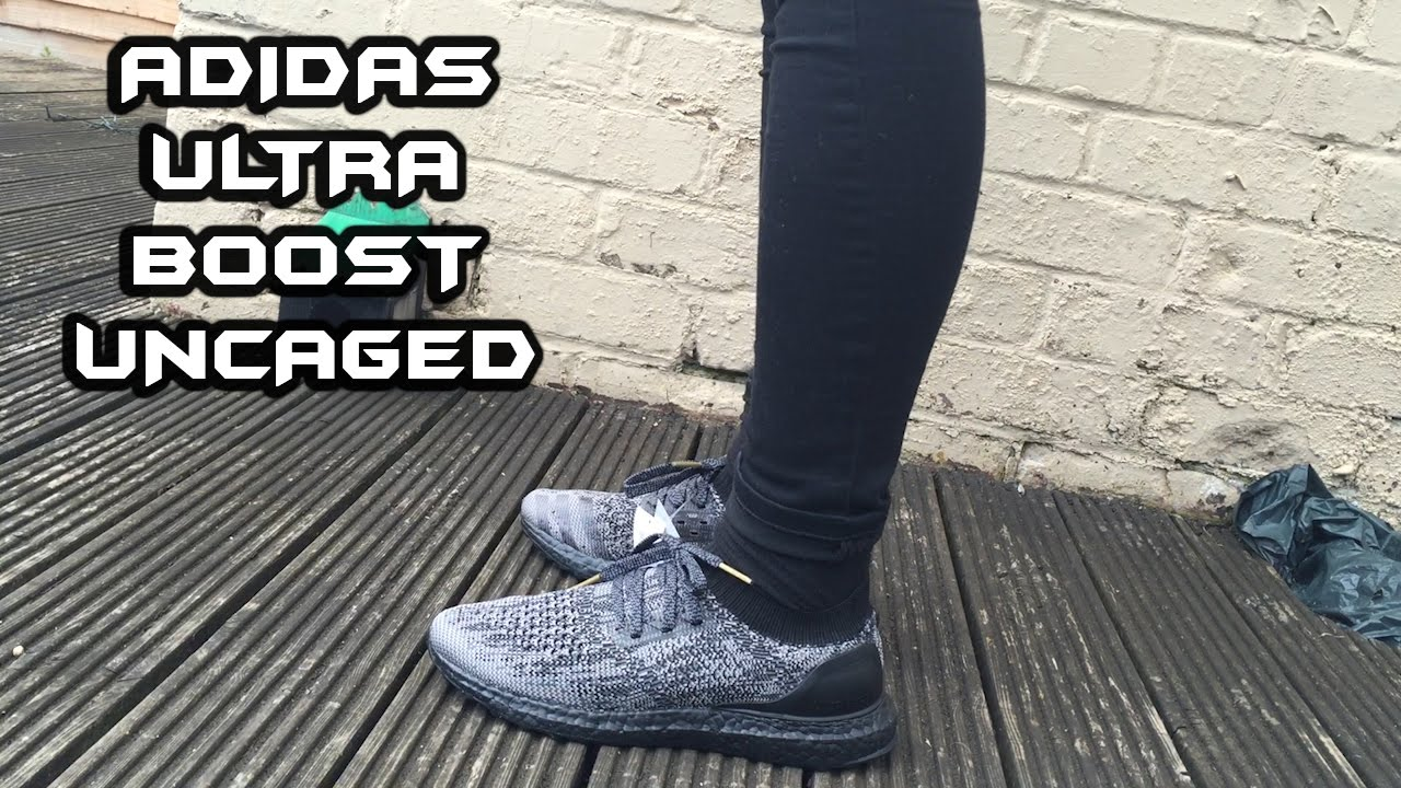 Adidas Ultra Boost Uncaged Triple Black On Feet