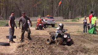 KIDS QUAD RACING IN MUD AT RUN WHAT YA BRUNG MUD BOG IN INDIANA