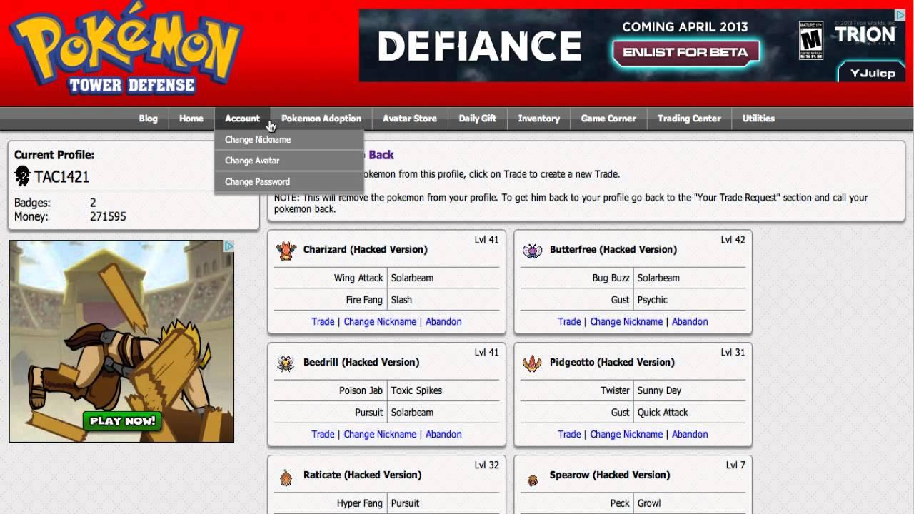 Pokemon center ptd 2 trading center - Pokemon Tower Defense Hacked Bonus 1 Extra Options Trade Coins Prizes