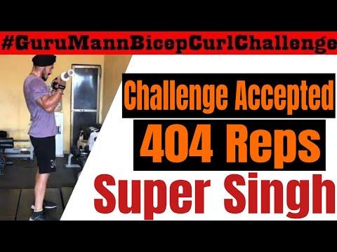Guru Mann Bicep Curl Challenge | 404 Reps | Olympic Barbell | Super Singh