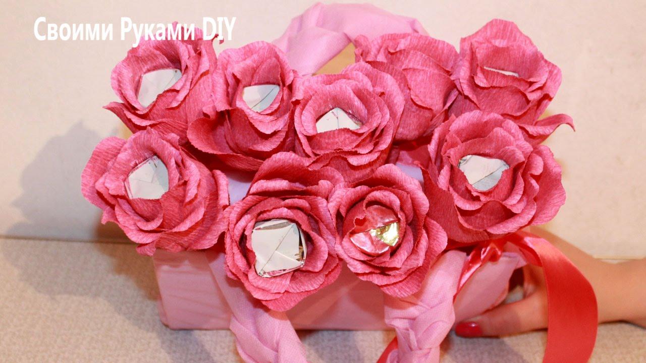 42c441ec6e6a Букет из конфет - Сумочка с розами - Розы из конфет - YouTube