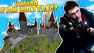 Minecraft HARRY POTTER 100 VS 4 MODDED FAN BATTLE - Minecraft Modded Minigame