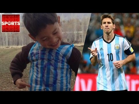 Lionel Messi FAN Wearing Bag Shirt FOUND In Afghanistan