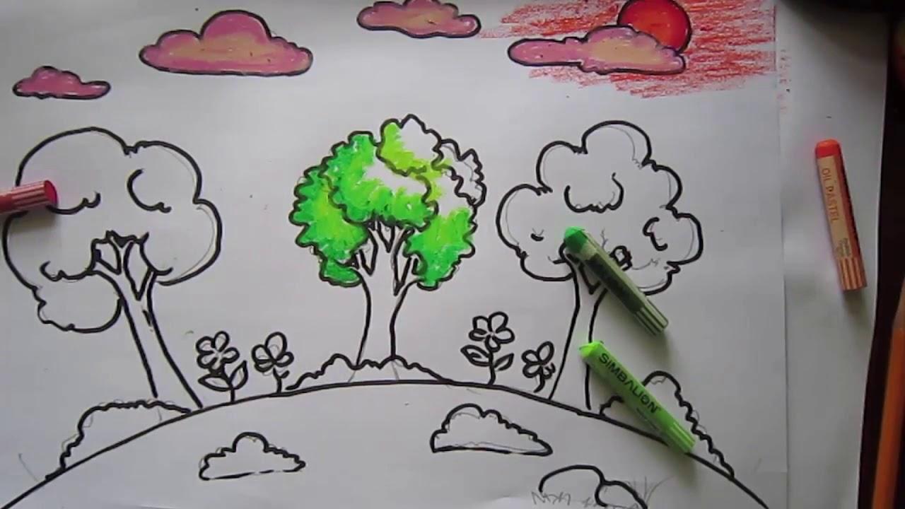 video hướng dẫn trẻ mầm non vẽ vườn cây xanh theo mẫu