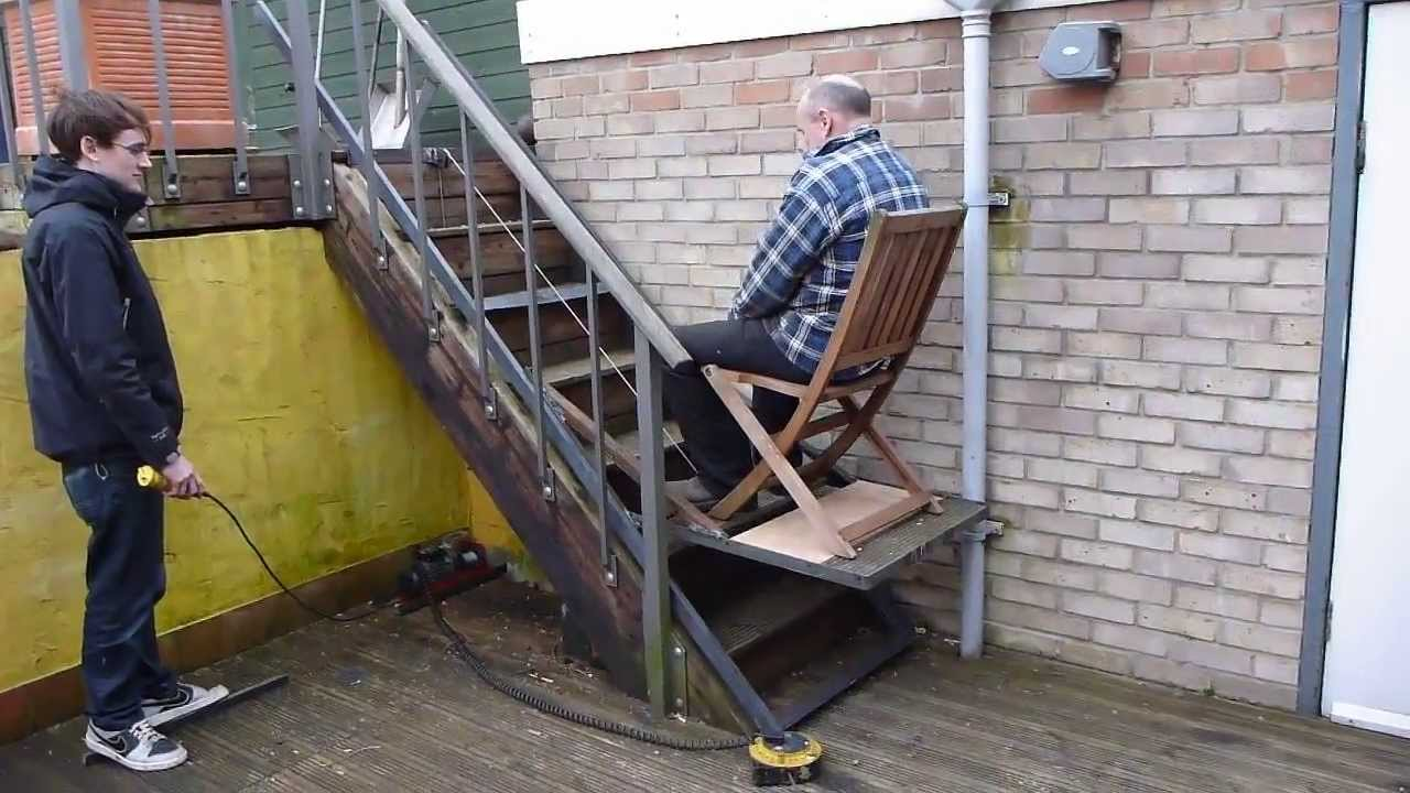 Diy granny stair lift youtube for Diy home elevator plans