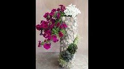 DIY Wunderschöne Blumen-Steinsäule für den Garten/Beautiful flower stone column for the garden