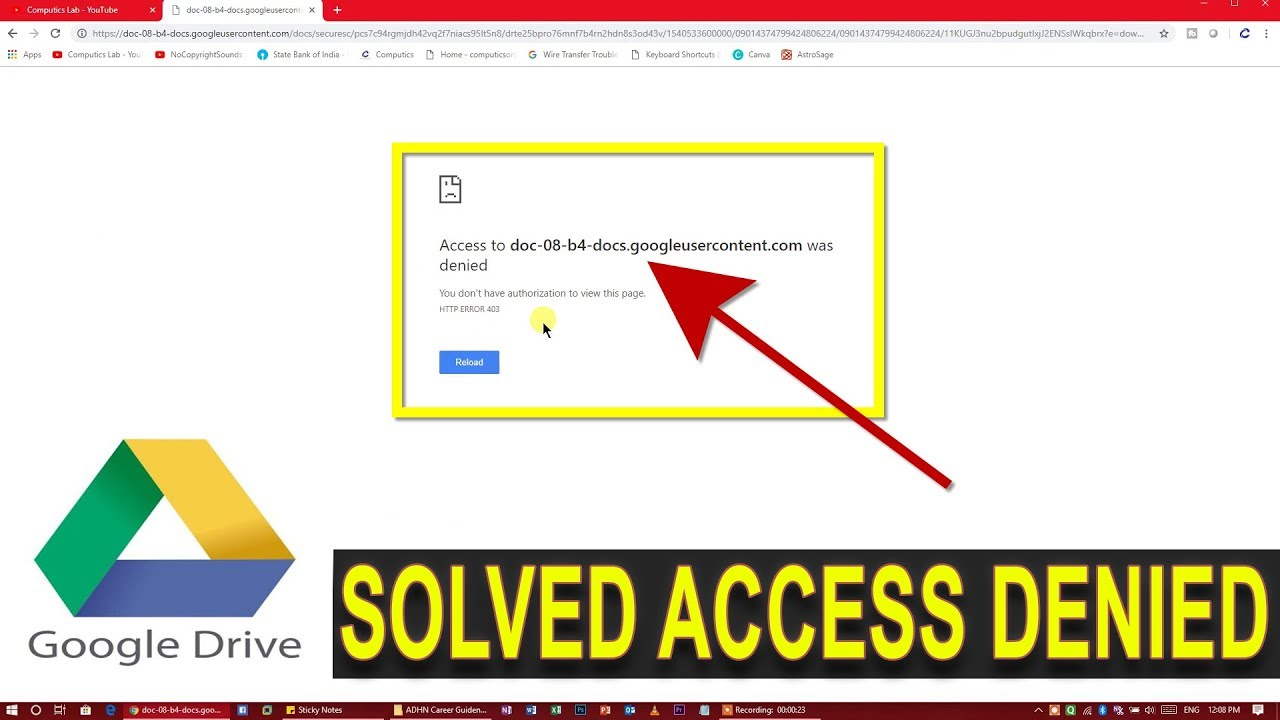 [Solved] Access to doc was denied when downloading the file from Google  Drive | HTTP Error 403