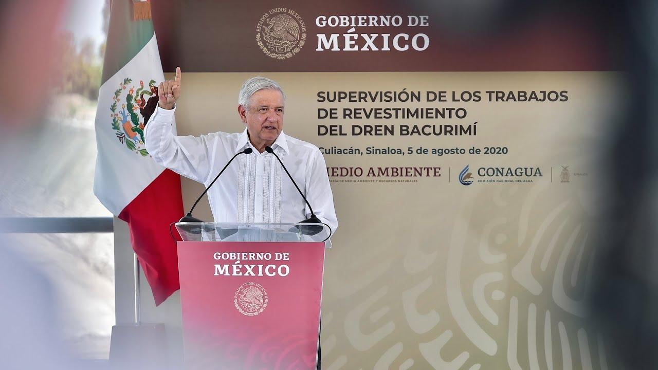 Supervisión de revestimiento del Dren Bacurimí, desde Culiacán, Sinaloa