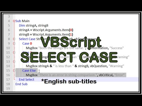 VBScript Select Case statement with multiple conditions, string functions -  tutorial 4
