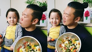 Attempting to make bibimbap with my son