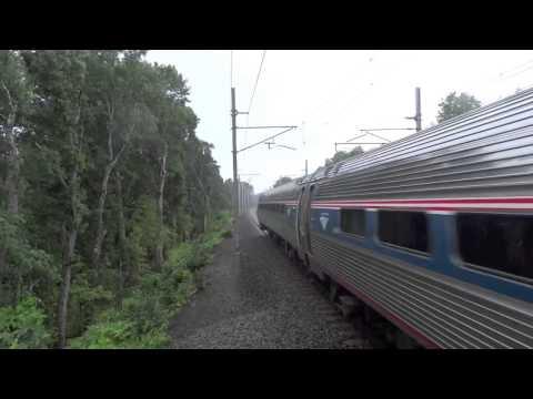 Northeast Regional Train close to Boston at 201 kmh (125mph)