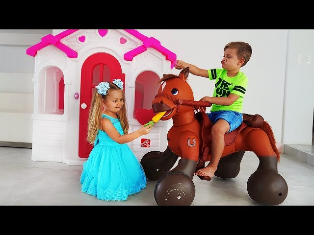 Diana Pretend Play with Ride On Horse Toy