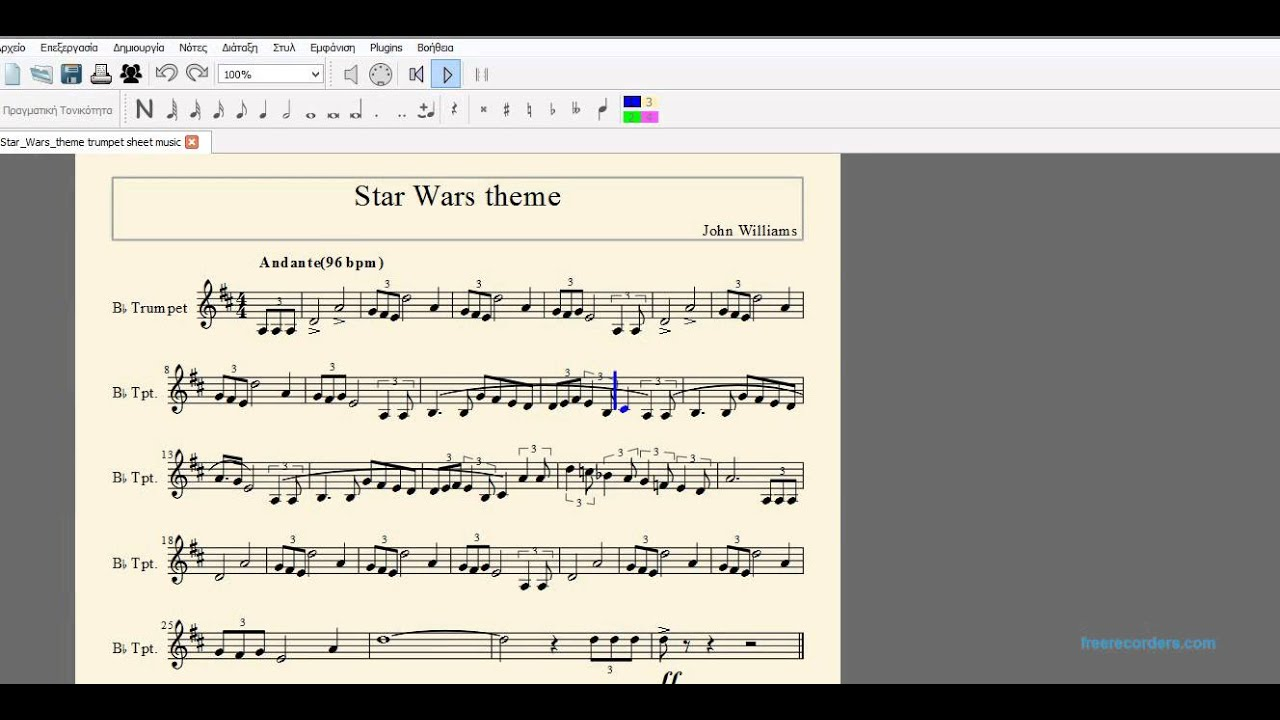 Star wars music for trumpet