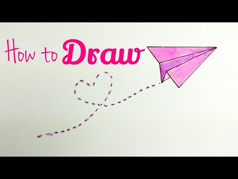 How To Draw Paper Plane Flying Paper Plane Drawing Tutorial For