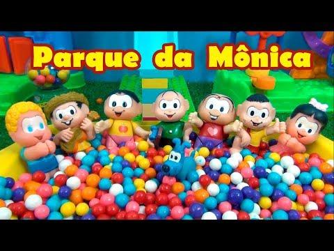 PARQUE DA MÔNICA - A TURMA DA MÔNICA VAI AO  PARQUE DE DIVERSÕES COM PISCINA DE BOLINHAS