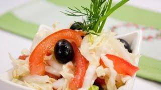 Салат из пекинской капусты с помидором и маслинами видео рецепт