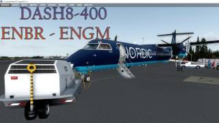 P3D V3.4 DASH 8-Q400 ENBR (Bergen) - ENGM (Oslo). Complete flight.