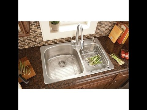 Kitchen Sink Installation Glacier Bay Top Mount Stainless Steel 33x22x9 2-hole Double Bowl