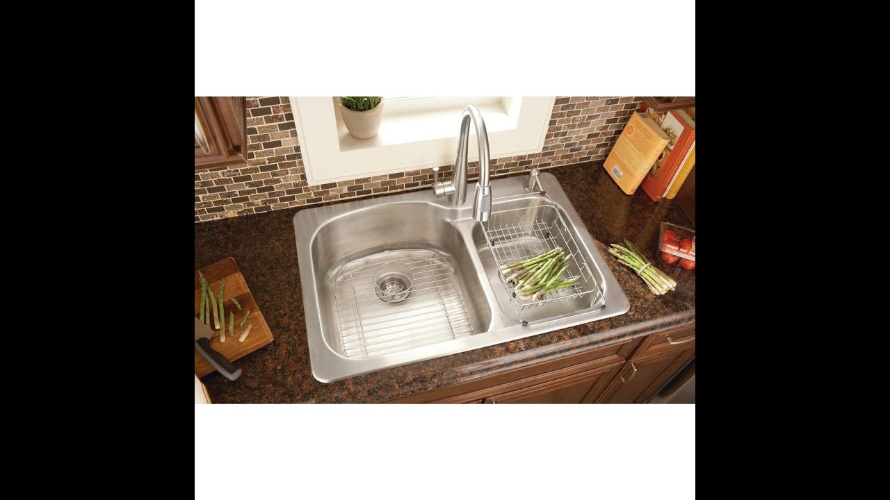 Kitchen Sink Installation Glacier Bay Top Mount Stainless Steel 33x22x9  2 Hole Double Bowl   YouTube