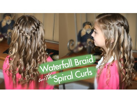 Waterfall Braid with Spiral Curls Prom Hairstyles
