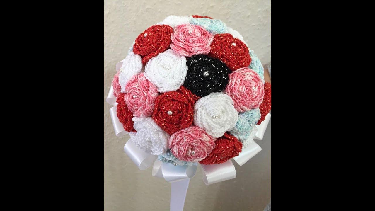 Tuto bouquet de roses au crochet spéciale gaucher - YouTube