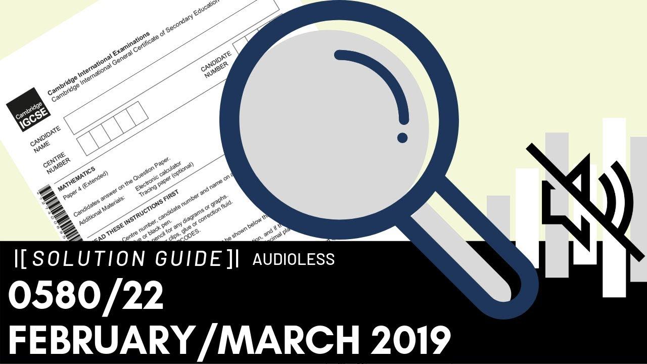 0580/22 February/March 2019 Marking Scheme (MS)