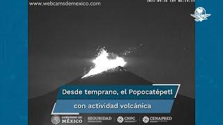 La mañana de este domingo el volcán Popocatépetl presentó una explosión a las 6:19 horas con emisión de material incandescente