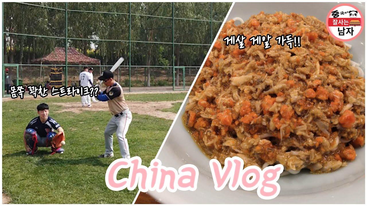 중국에서 사회인야구 하기! 리그 시작! , 게살면으로 보신하기 / 중국생활 VLOG