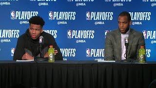 Giannis Antetokounmpo & Middleton Postgame Interview   Celtics vs Bucks - Game 4   2018 NBA Playoffs