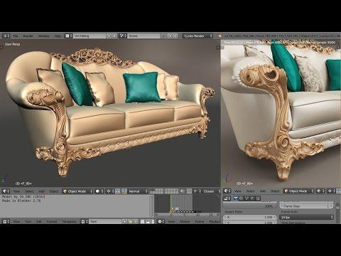 1D Blender - Complex baroque element (60fps version)