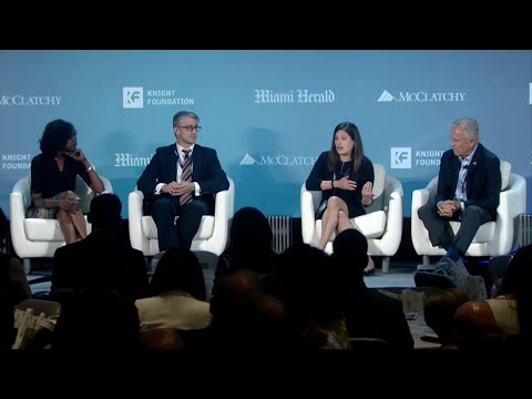 Rachel Smolkin on a panel at the University of Miami  with Marc Caputo  and Michael Putney during the Florida Priorities (moderated by Nancy Ancrum at the University of Miami's Donna E. Shalala Student Center, uploaded on November 14, 2018)