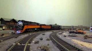 ho scale Southern Pacific 4449 on a trip towards Los Angeles