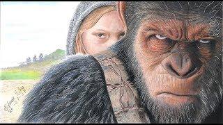 Desenhando ,Drawing, Dibujando, Cesar e Nova Planeta dos Macacos a Guerra