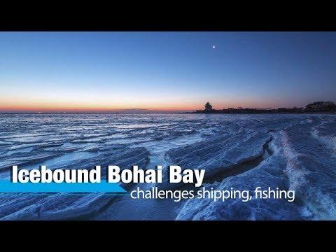 Live: Icebound Bohai Bay challenges shipping, fishing 渤海冰冻封海