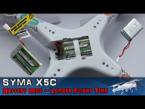 Syma X5C - Battery Mod Longer Flight Time To 15 Min. Hack Step by Step (2 of 3) How To PL 4K X5C-1