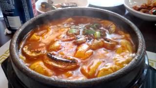 Korean Extra Spicy Soft Tofu W/mushrooms @ Korea Tofu House
